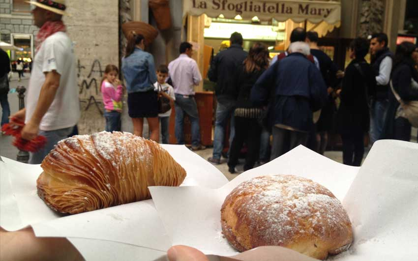 Eating sfogliatelle in Naples
